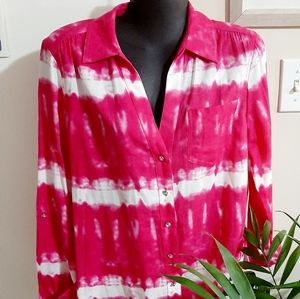 Pretty hot pink and white tie dye style buttondown